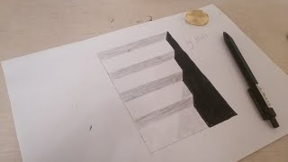 Como dibujar escaleras sobre papel  |  How to draw stairs on paper