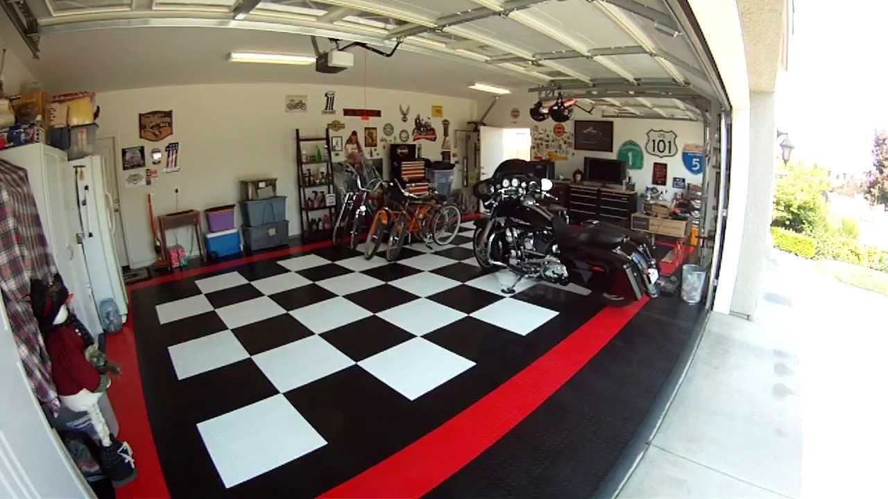 Race deck garage floor tiles snap lock youtube for Garage deck
