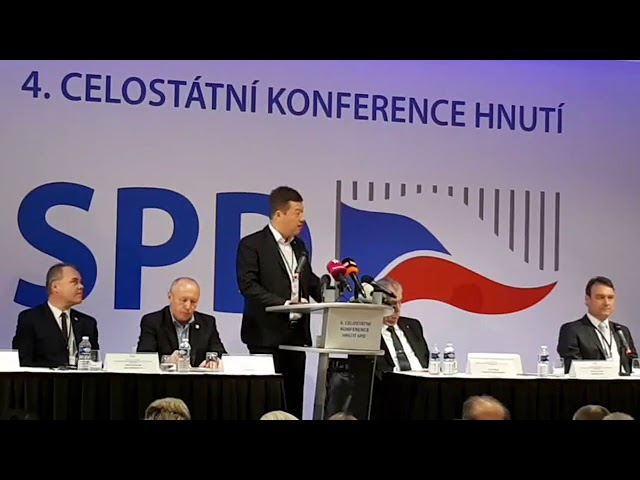 sněm SPD, prezident Zeman, T. Okamura, projevy