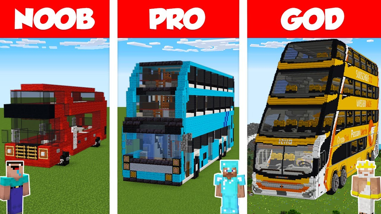 Minecraft NOOB vs PRO vs GOD: BUS BUILD CHALLENGE in Minecraft / Animation