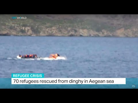 70 refugees rescued by Turkish Coast Guard from dinghy in Aegean sea