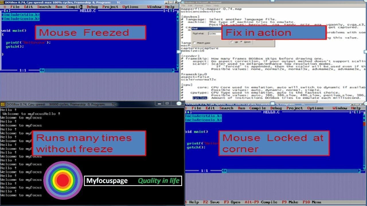 dosbox turbo c / c++ mouse freeze 100% working : myfocuspage fixes #1
