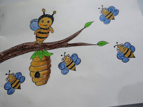how-to-draw-a-beehive-and-honey-bees-floating-around---easy-drawing-tutorials-for-kids