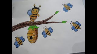 How to draw a Beehive and Honey bees floating around - Easy drawing tutorials for kids