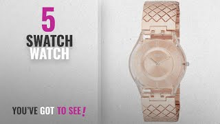 Top 10 Swatch Watch [2018]: Swatch Pink Cushion Rose Gold Dial Stainless Steel Ladies Watch