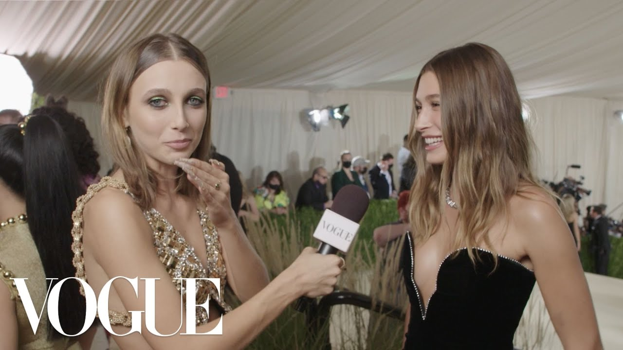 Hailey Bieber on Her Classically Sexy Met Gala Look   Met Gala 2021 With Emma Chamberlain   Vogue