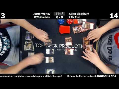 Standard w/ Commentary 6/14/17: Justin Worley (W/B Zombies) vs. Justin Blackburn (2 Tix Red)