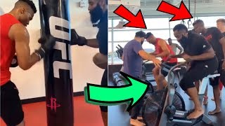 James Harden Responds to Weight Gain with CARDIO UFC WORKOUT w/ Russell Westbrook & Clint Capela