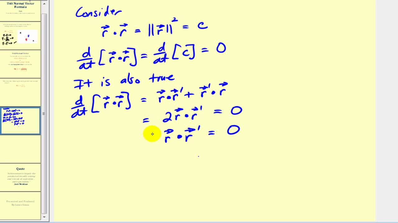 Unit Tangential and Normal Vectors calculation  GeoGebra