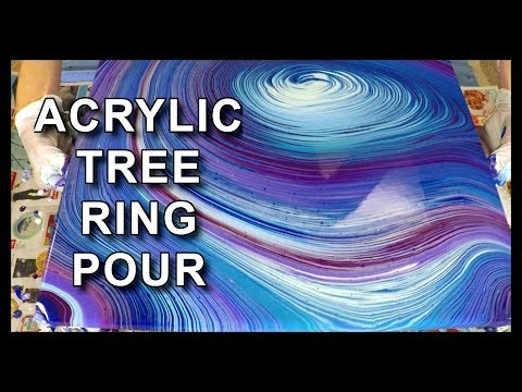 ACRYLIC POURING | Tree Ring / Swirl Pour