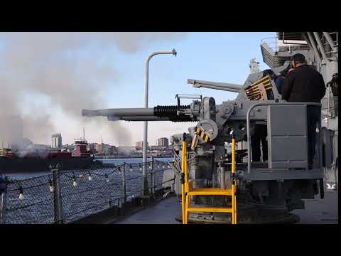 Battleship New Jersey Fires Newly Restored Quad40 Guns