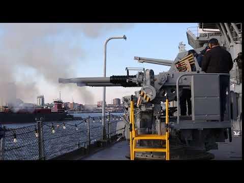 Battleship New Jersey Fires Newly Restored Quad40 Guns