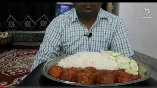 Spicy egg curry and rice eating.......