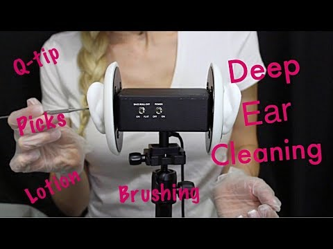 ASMR Deep Ear Cleaning (Picks, Q-Tips, Brushing and Lotion Massage)