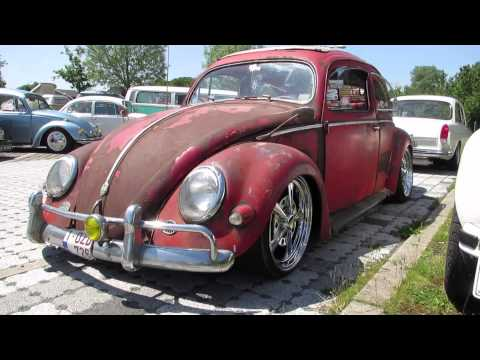 vw beetle red oval ragtop @ nazereth 2014