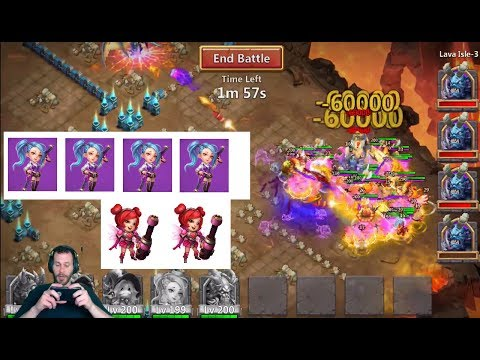 Lava 3 Super Fast Time 4 Gunslingers Less Heals MORE Damage Castle Clash