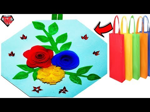 How To Make Rose Flowers Wall Hanging || DIY Recycled Shopping Bags Wall Decoration Ideas
