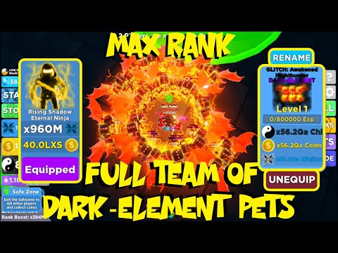 Getting Max Rank With Full Team Of Dark-Element Pets In Ninja Legends Update!! - Roblox