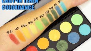 Обзор теней Colordance professional make-up . Свотч желтых/зеленых оттенков, сравнение.