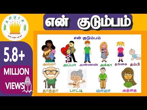 என் குடும்பம் - குழந்தை தமிழ்   Learn My Family Members in Tamil for kids and children