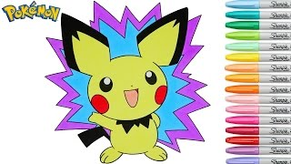 Pokemon Coloring Book Pichu Anime Colouring Pages SPEED COLORING Rainbow Splash rscb