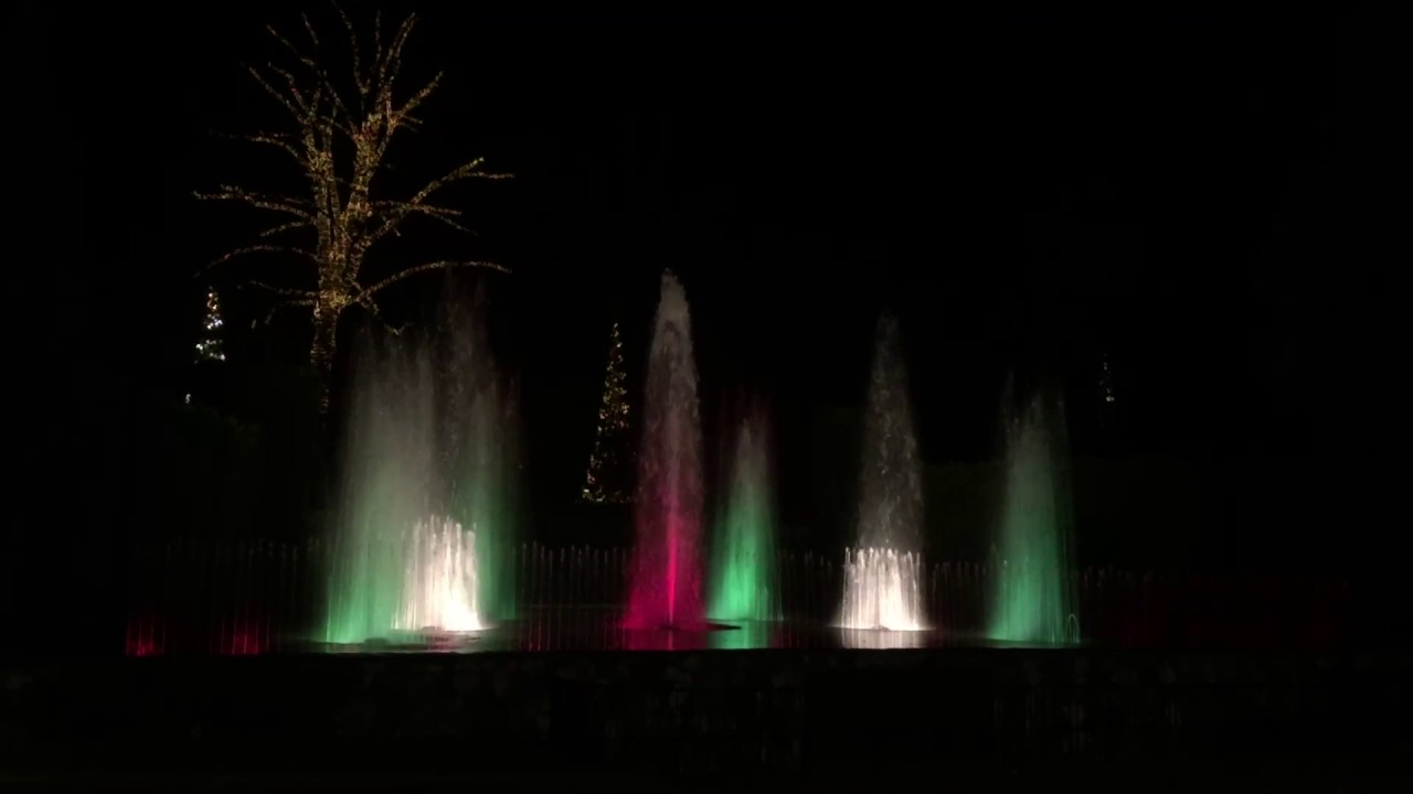 Longwood Gardens Christmas fountain light show 2016 - YouTube