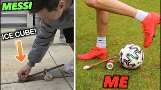 How Difficult are FOOTBALLERS Most INSANE VIRAL Moments? (MESSI ICE CUBE TRICK)
