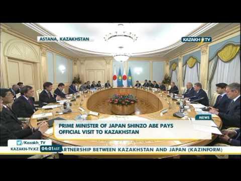 Prime minister of japan Shinzo Abe pays official visit to Kazakhstan - Kazakh TV