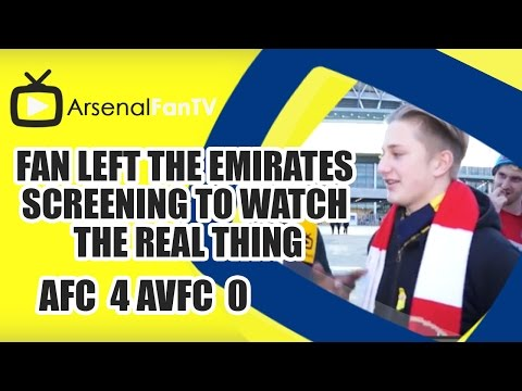 Fan Left The Emirates Screening To Watch The Real Thing | Arsenal 4 Villa 0