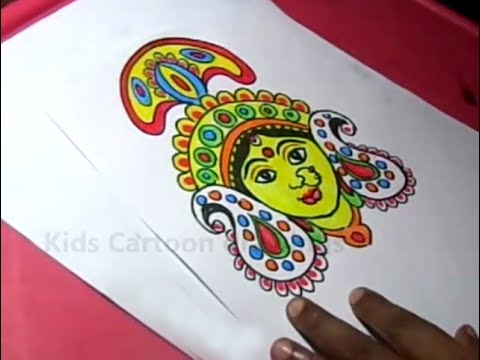 How To Draw Hindu Goddess Durga Drawing Step By Step Youtube