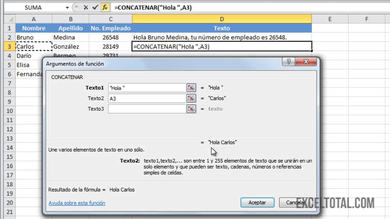Función CONCATENAR en Excel 2010 - YouTube