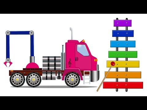 Service Vehicles Cartoon: The Tow Truck with Car Service & Xylophone. Cars Cartoons for children