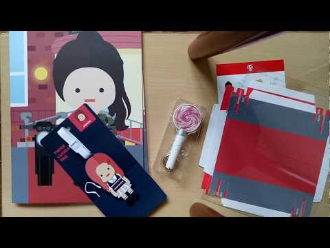 unboxing twice goods from twice store korea charather paper toy , luggage  tag, mini candy bong