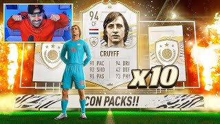 OMG I PACKED PRIME CRUYFF!! BEST 10x ICON PACKS EVER! FIFA 21