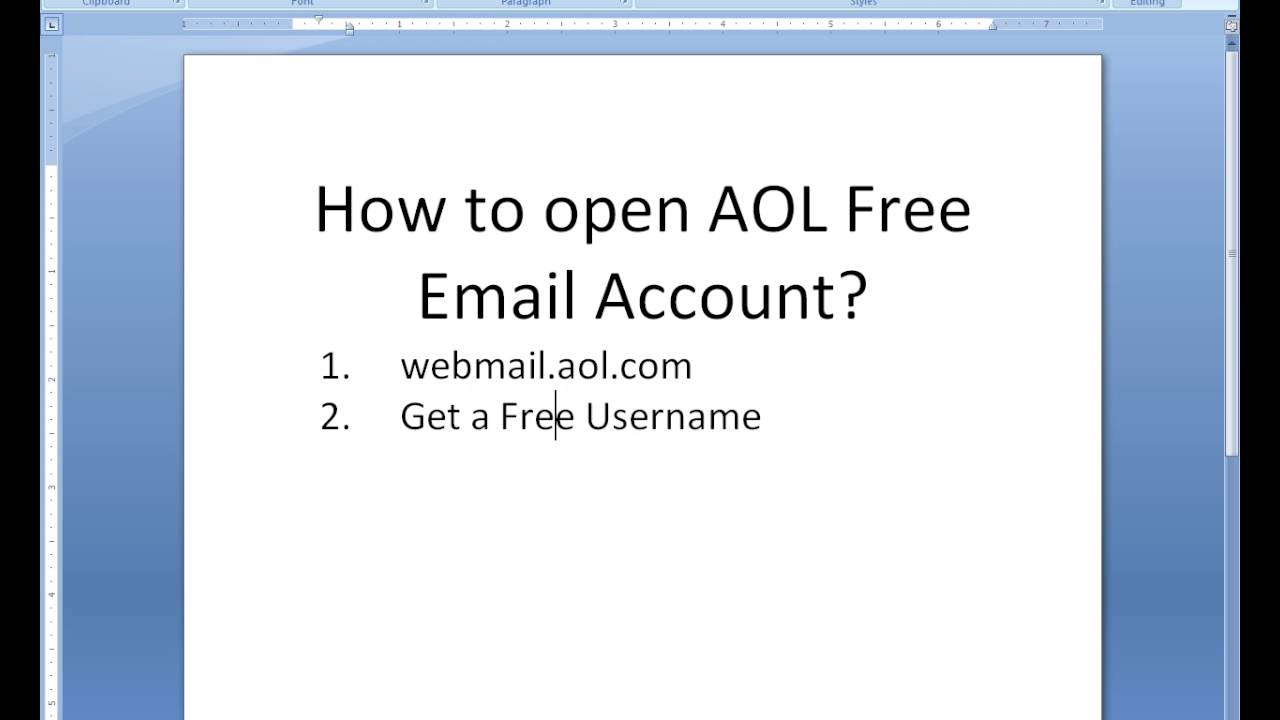 Open Aol Account