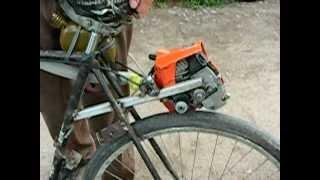 Самодельный мопед (Homemade moped)(Сделано на совесть из велосипеда Украина и китайской бензопилы., 2011-06-14T09:18:17.000Z)