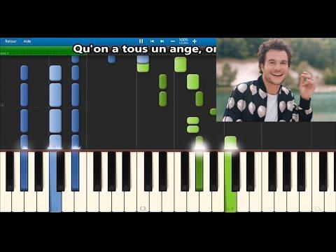 Amir - On dirait - Karaoke / Piano synthesia tutorial (+ lyrics & Sheet music)