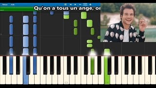 Amir - On dirait - Karaoke / Piano synthesia tutorial (+ lyrics & Sheet music)