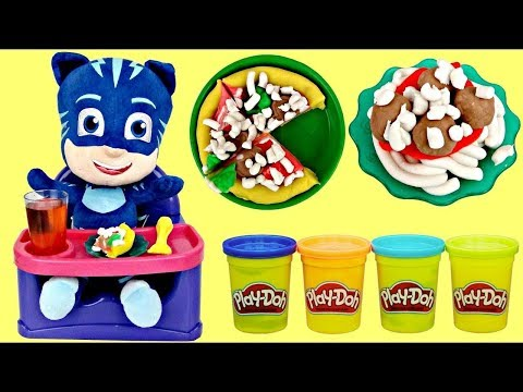 Disney PJ MASKS Catboy Eats in High Chair Play-doh Kitchen Creation Pizza Spaghetti Meatballs / TUYC
