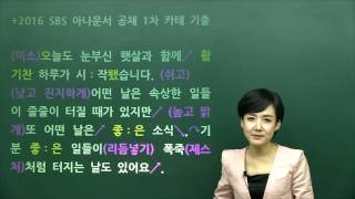 SBS 아나운서 공채 1차 카메라테스트 기출대본, 아나운서아카데미 인강 샘플 강의