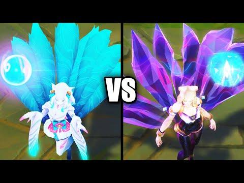 Spirit Blossom Ahri vs KDA Ahri Skins Comparison (League of Legends)