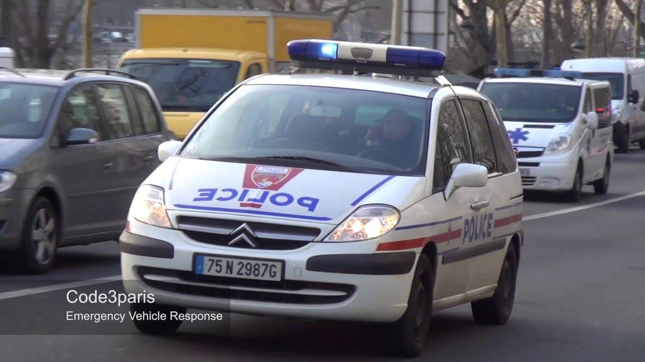 voiture de police paris police car responding youtube. Black Bedroom Furniture Sets. Home Design Ideas