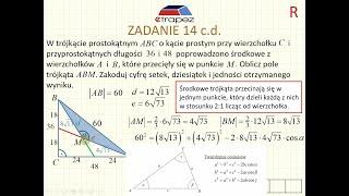 Twierdzenie cosinusów, twierdzenie o środkowych - klasyk maturalny (Kurs Matura Rozszerzona eTrapez)