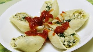 Spinach & Cottage Cheese Stuffed Pasta Shells Video Recipe By Bhavna