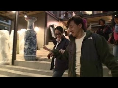 Jackie Chan 成龙 and Lin Feng Jiao On set CZ12