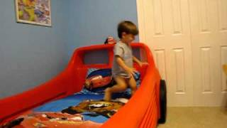 Connor Video:  New Race Car Bed 2010 09