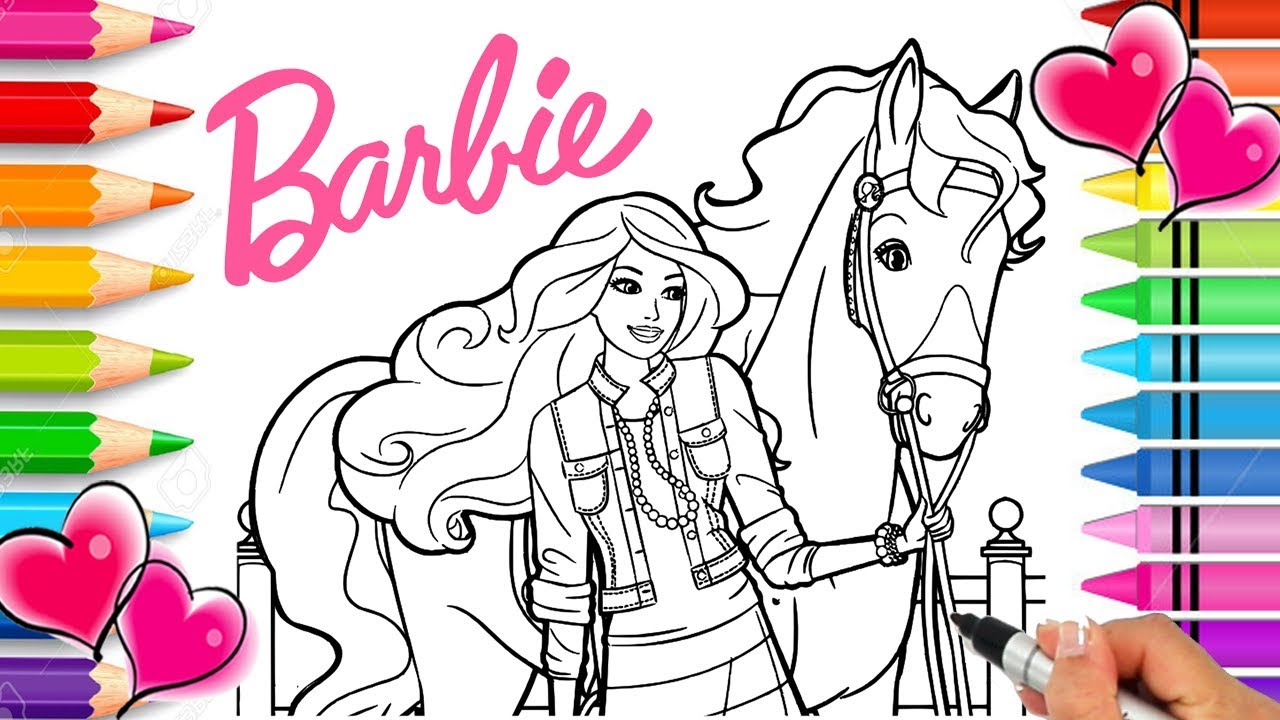 Barbie Horse Coloring Page Barbie Coloring Book Printable Barbie