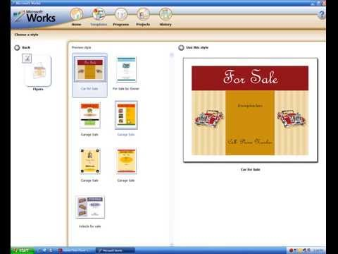 Microsoft Works 9 Short Demonstration On Windows XP