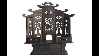 Chinese Antique Flower Bird Carving Mini Buddha Display Cabinet Wk2852