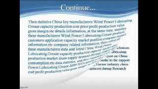Bharat Book Presents :2013 Market Deep Research Report on China Wind Power Lubricating